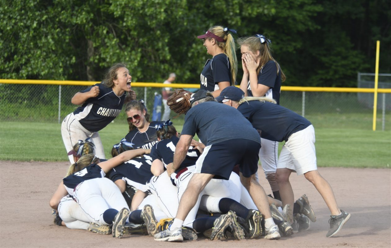 Chautauqua Lake players celebrate after winning the NYSPHSAA Class C softball title in Moreau  Recreation in Moreau. (Jenn March/Special to The News)