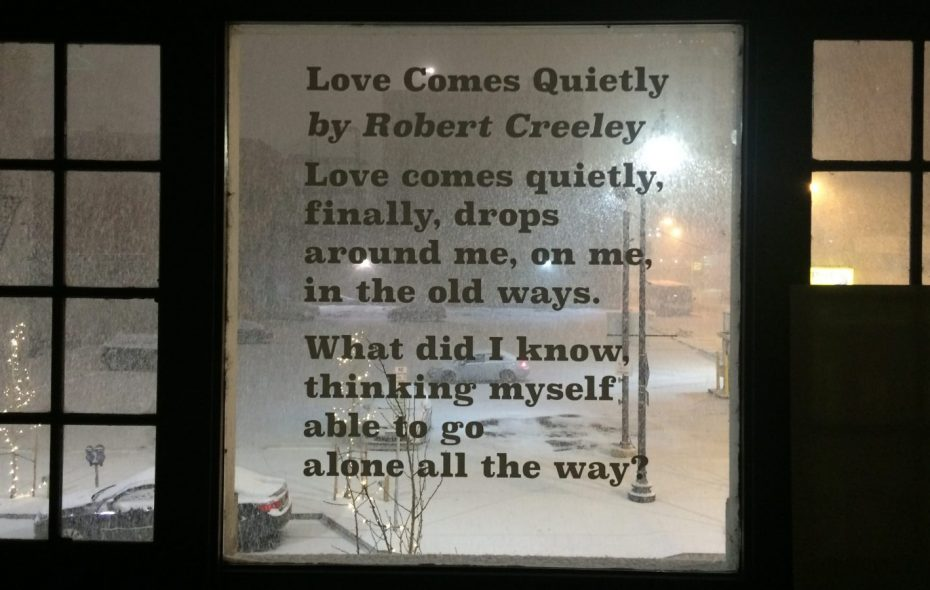 This Robert Creeley poem is inscribed on a window at the Just Buffalo Literary Center. (Buffalo News archives)