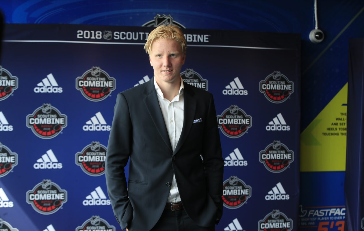 Rasmus Dahlin meets with the media at the start of the NHL Scouting Combine at the HarborCenter on Friday June 1, 2018. (Harry Scull Jr./ Buffalo News)