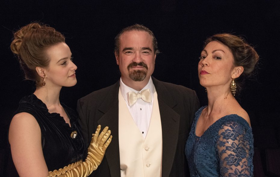 """Arianne Davidow, left, stars with Matt Witten and Kate LoConti in the Irish Classical Theatre Company's production of """"Lady Windemere's Fan."""""""
