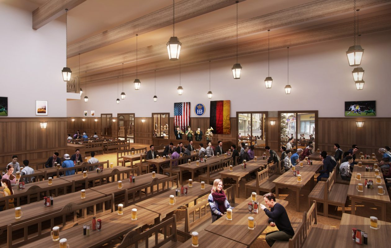 A bandstand and long tables capable of supporting singing drinkers will be fixtures at Hofbrauhaus Buffalo. (Hofbrauhaus Buffalo)