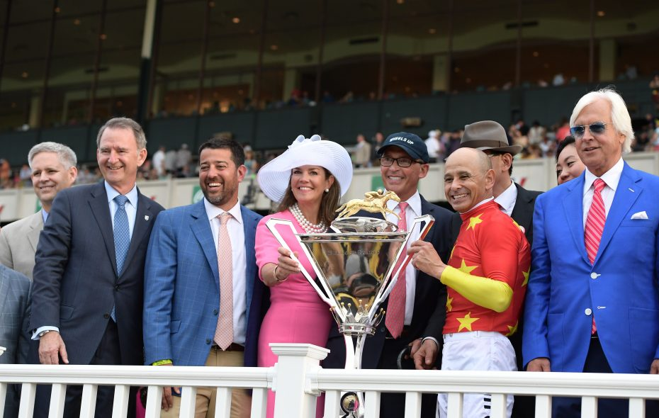 The winning connections with the Triple Crown trophy after Justify's win in the Belmont Stakes on Jun. 9.  Photo Credit: NYRA/Adam Coglianese