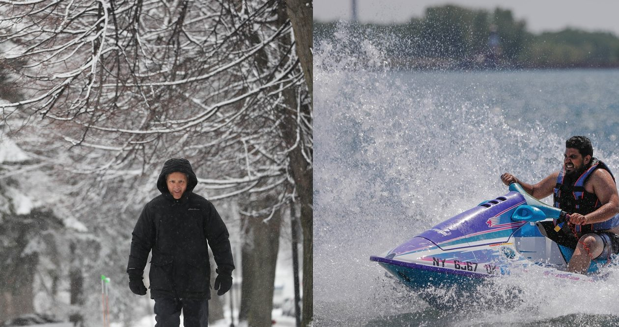 A tale of two seasons, in a single spring. Left, Mark Giangreco went out for a walk in North Buffalo on a chilly April 6. Right, Abe Shafie of Buffalo cooled off with the spray of his jet ski in the Outer Harbor on May 30. (Photos by Sharon Cantillon and Derek Gee/Buffalo News)