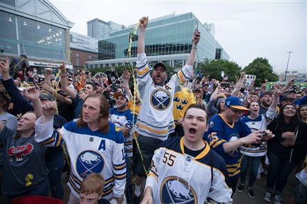 Sabres fans turned out in a big way Friday night, June 22, 2018,  for the Sabres Draft Party at KeyBank Center to watch 18-year-old oustanding defenseman Rasmus Dahlin picked No. 1.