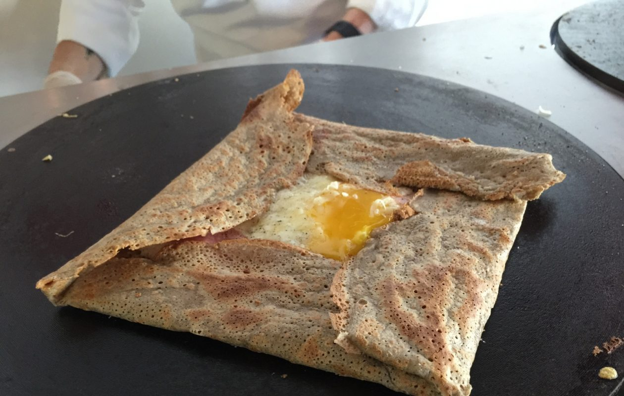Pastry by Camille's crepes include traditional French buckwheat crepe with Gruyere, ham and egg. (Andrew Galarneau/Buffalo News)