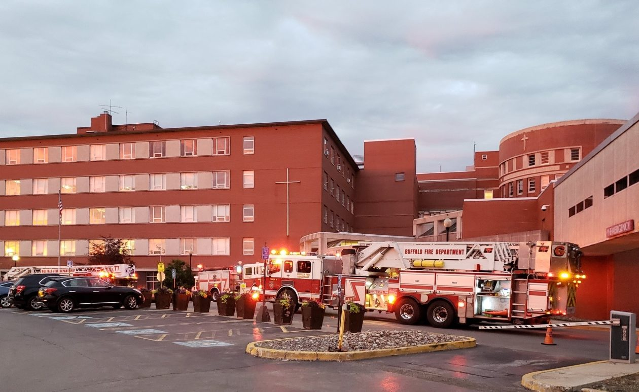 Buffalo firefighters were called to Sisters Hospital on Tuesday night for the report of a fire on the third floor.  (Harold McNeil/Buffalo News)