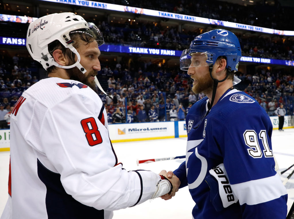 Tampa Bay's Steven Stamkos, right, had to congratulate Stanley Cup-bound Alex Ovechkin of Washington after losing Game 7 of the Eastern Conference final to the Capitals. Stamkos and the Lightning are early-line Cup favorites for 2019.(Getty Images)