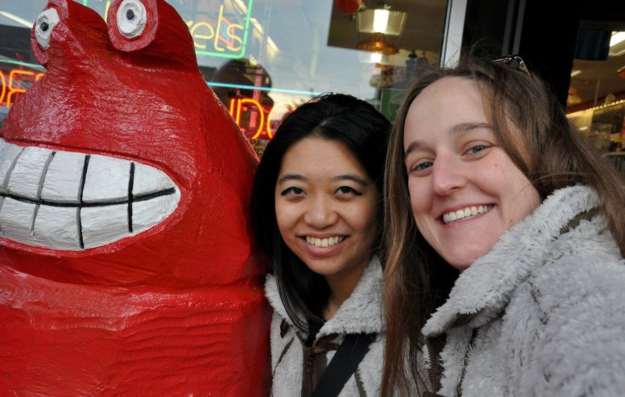 Qina Liu and Karen Larkin pose with a lobster statue in Bar Harbor, Maine. (Qina Liu/Buffalo News)