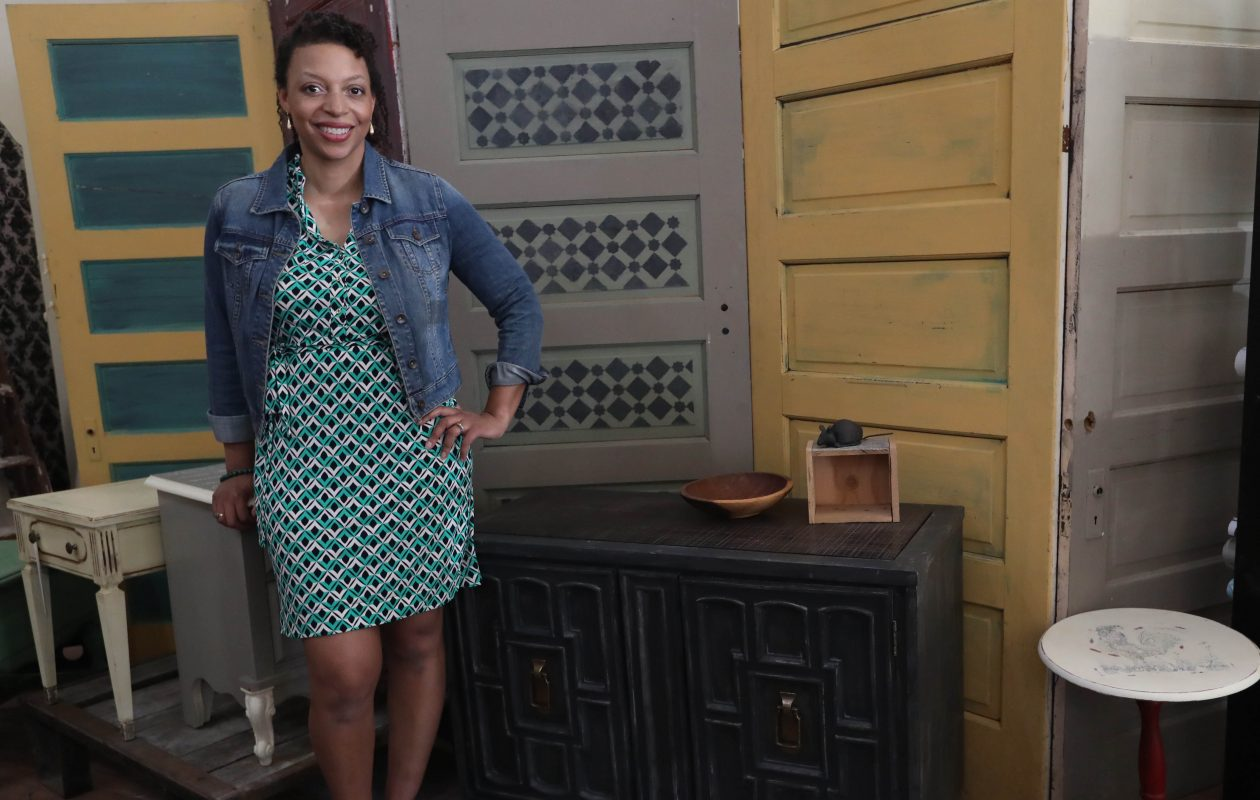 Tyra Johnson, founder/owner of Blue Sky Design Supply, in her store at 978 Elmwood Ave. (Sharon Cantillon/Buffalo News)