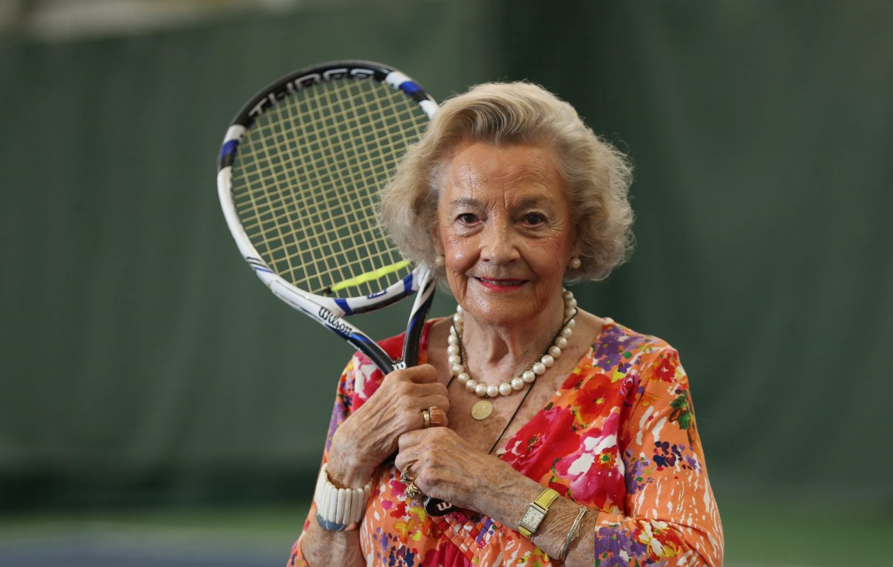 Nancy Naylon founded the Amherst Clarence Women's Tennis Club and shared the story of how the groups of women began playing. (Sharon Cantillon/Buffalo News)