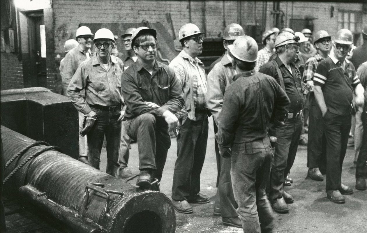 Bethlehem Steel workers on in their final day in October 1983 after the company ended basic steelmaking operations. (News file photo)