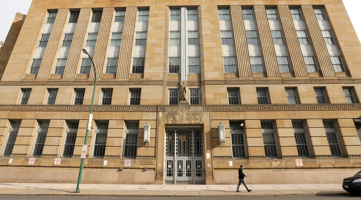 The former Michael J. Dillon federal courthouse, before construction work began. (Sharon Cantillon/News file photo)
