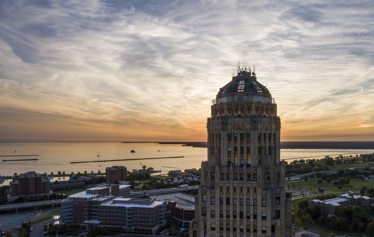 The top of City Hall at sunset, Tuesday, Sept. 12, 2017.  (Derek Gee/Buffalo News)
