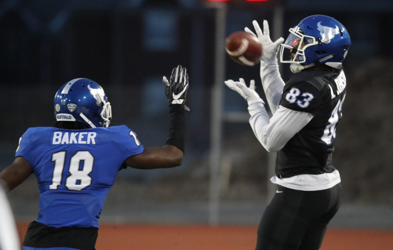 Anthony Johnson, right, caught a school-record 14 touchdown passes last season. (Harry Scull Jr./Buffalo News file photo)