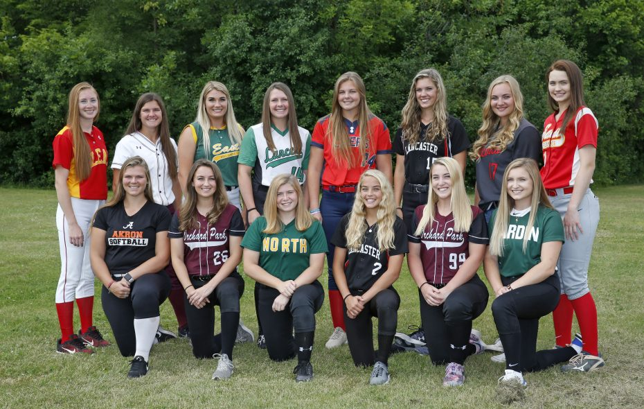 The 2018 All-WNY Girls Softball Team starting in the front from left, Abby Stone (Akron), Lillian Wozniak (Orchard Park), Miranda Fish (Williamsville North), Madisyn Pepke (Lancaster), Kayla Raymond (Orchard Park) and Jessie DiPasquale (Nardin). Back from left, Alyssa Ramarge (Olean), Emily Hanlon (Dunkirk), Anilese Kelly (West Seneca East), Riley Crum (Lew-Port), Brooke Plonka (Iroquois), Olivia Kincanon (Lancaster), Mackenzie Quider (Niagara Wheatfield) and Rachel Steffan (Williamsville East) on Wednesday, June 20, 2018.  (Robert Kirkham/Buffalo News)