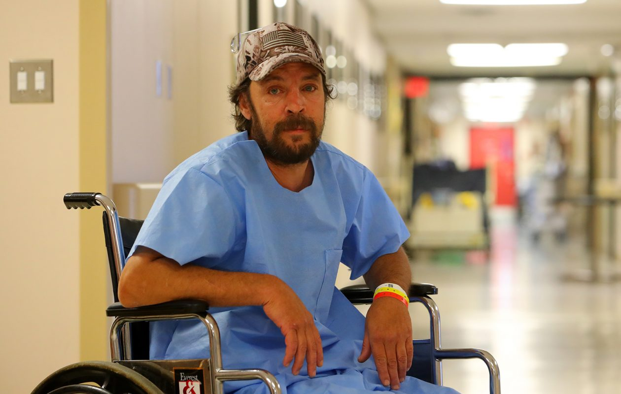 Shawn Haseley, shown here during one of his stays at Erie County Medical Center, told The News that his presence at the Niagara Falls home deterred drug dealers, burglars and other troublemakers. (John Hickey/Buffalo News)