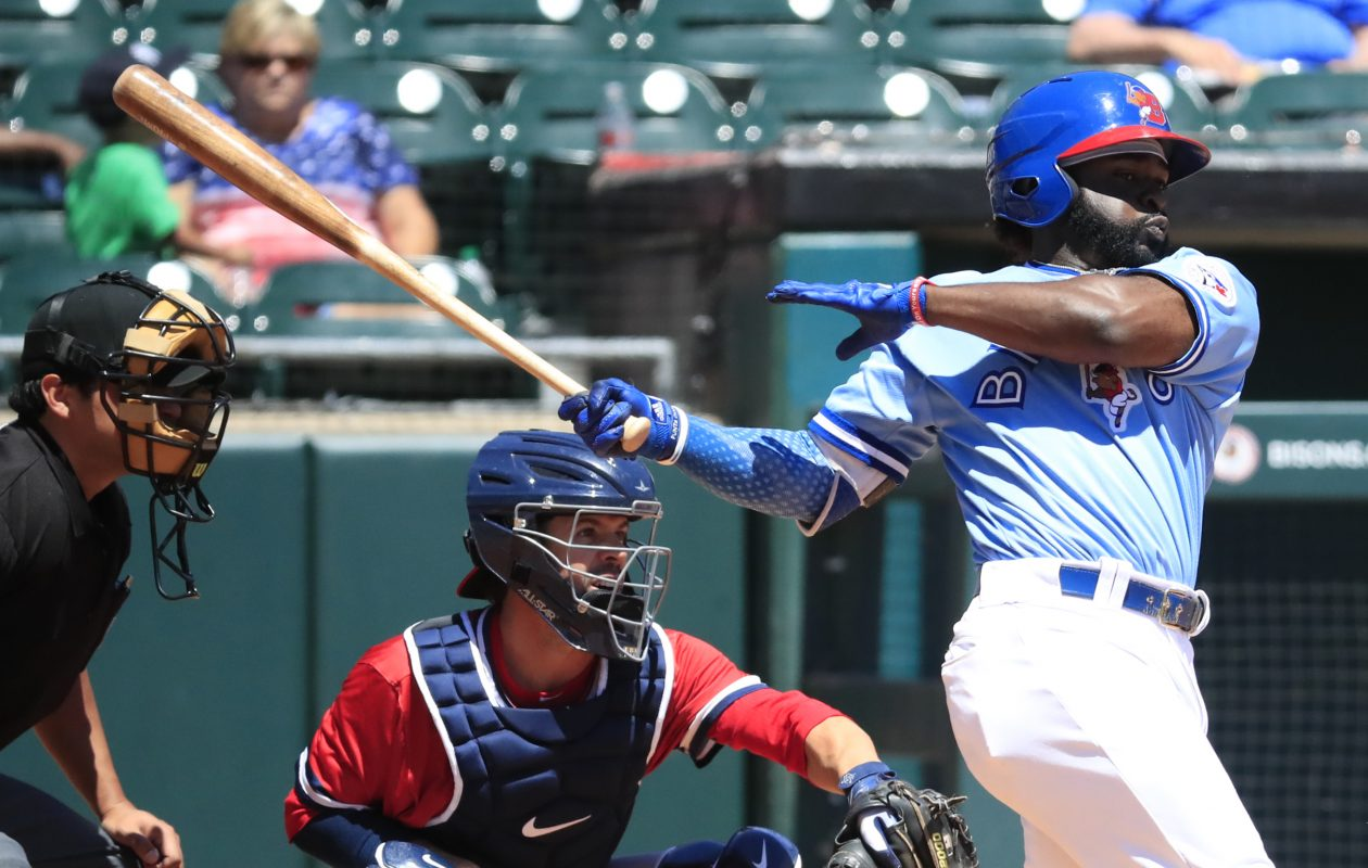Dwight Smith Jr. and the Bisons had some trouble stringing together hits at key times during Sunday's loss to Syracuse at Coca-Cola Field. (Harry Scull Jr./Buffalo News)