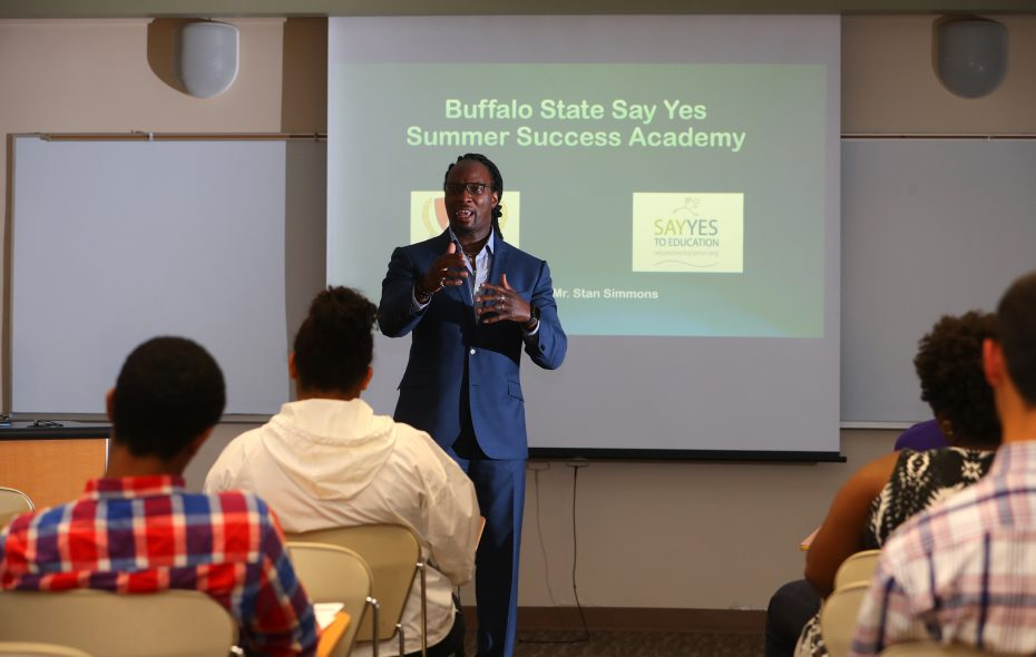 Stanley Simmons, Say Yes coordinator at SUNY Buffalo State, helps students in the Summer Success Academy prepare for the challenges — academic and otherwise — of college life. (John Hickey/News file photo)