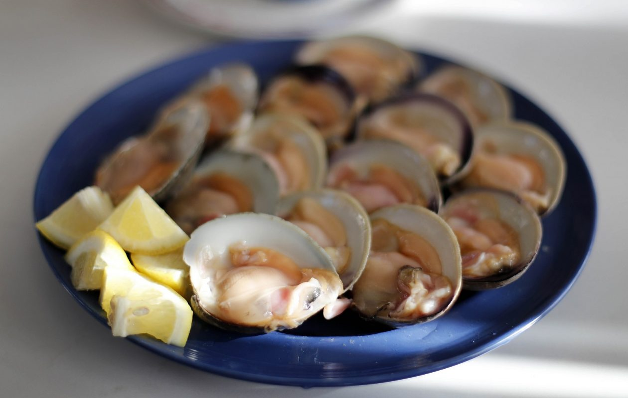 A dozen raw clams at Steve's Clam Bar in Salumeria Belsito on Hertel, which is among the top stops for clams in the area. (Mark Mulville/Buffalo News)