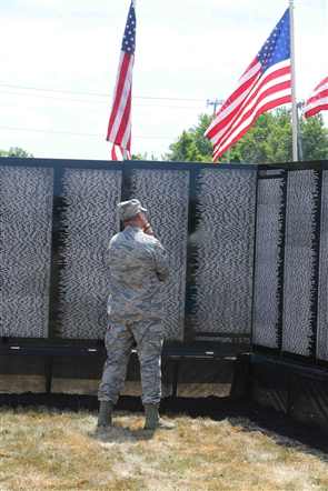 Motorcycle escorts and volunteers help make the Vietnam Traveling Memorial Wall a reality in Hyde Park in Niagara Falls.