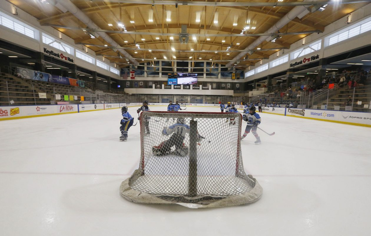 This year's 11 Day Power Play features teams representing area businesses, community groups and various hockey teams of all ages. On Thursday, players from the American Snipers and Coffee Grinders, 11- and 12-year-olds, hit the HarborCenter ice. (Mark Mulville/Buffalo News)