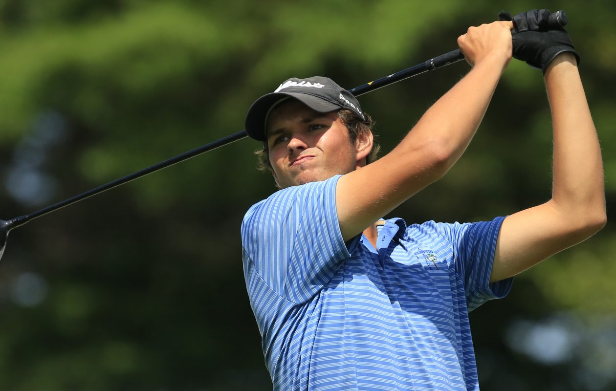 Ben Reichert watches his tee shot on the tenth hole during the first round of the 60th Annual Porter Cup at the Niagara Falls Country Club Wednesday. (Harry Scull Jr./Buffalo News)