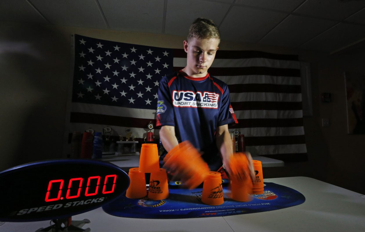 Michael Vanner is a 15-year-old from East Aurora who is one of the best in the world at Sport Stacking.  (Robert Kirkham/Buffalo News)