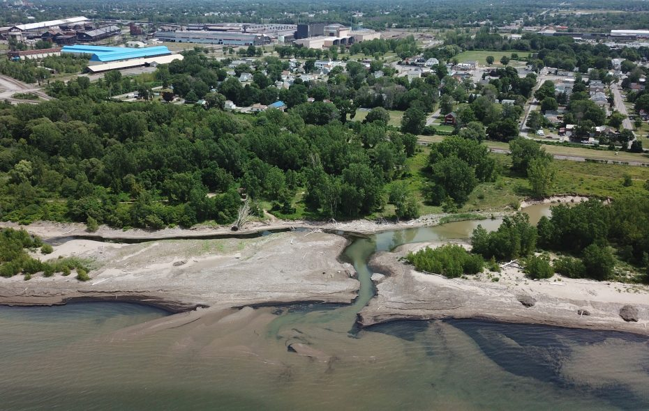 Blasdell Creek, left, and Rush Creek, right, come together at Woodlawn Beach State Park. (John Hickey/Buffalo News)