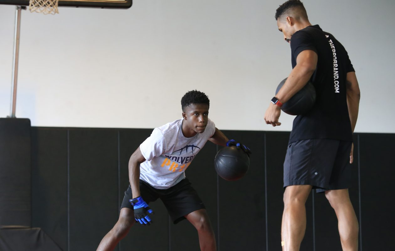 Willie Lightfoot, a  freshman basketball player at Niagara Falls High School, trains at Pro Training Basketball with University at Buffalo alum Rod Middleton. (Harry Scull Jr./Buffalo News)