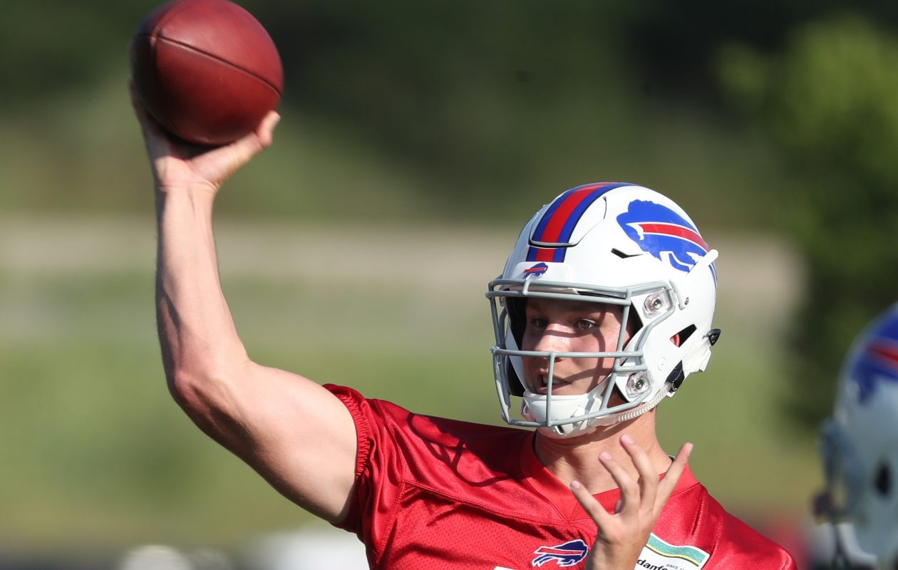 Buffalo Bills quarterback Josh Allen (17) throws a pass with the second team during the first day of training camp at St. John Fisher College in Pittsford on Thursday, July 26, 2018.  (James P. McCoy/Buffalo News)