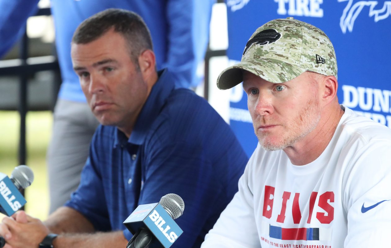 Bills head coach Sean McDermott and general manager Brandon Beane address the media on the first day of training camp at St. John Fisher College on Thursday, July 26, 2018.  (James P. McCoy/Buffalo News)