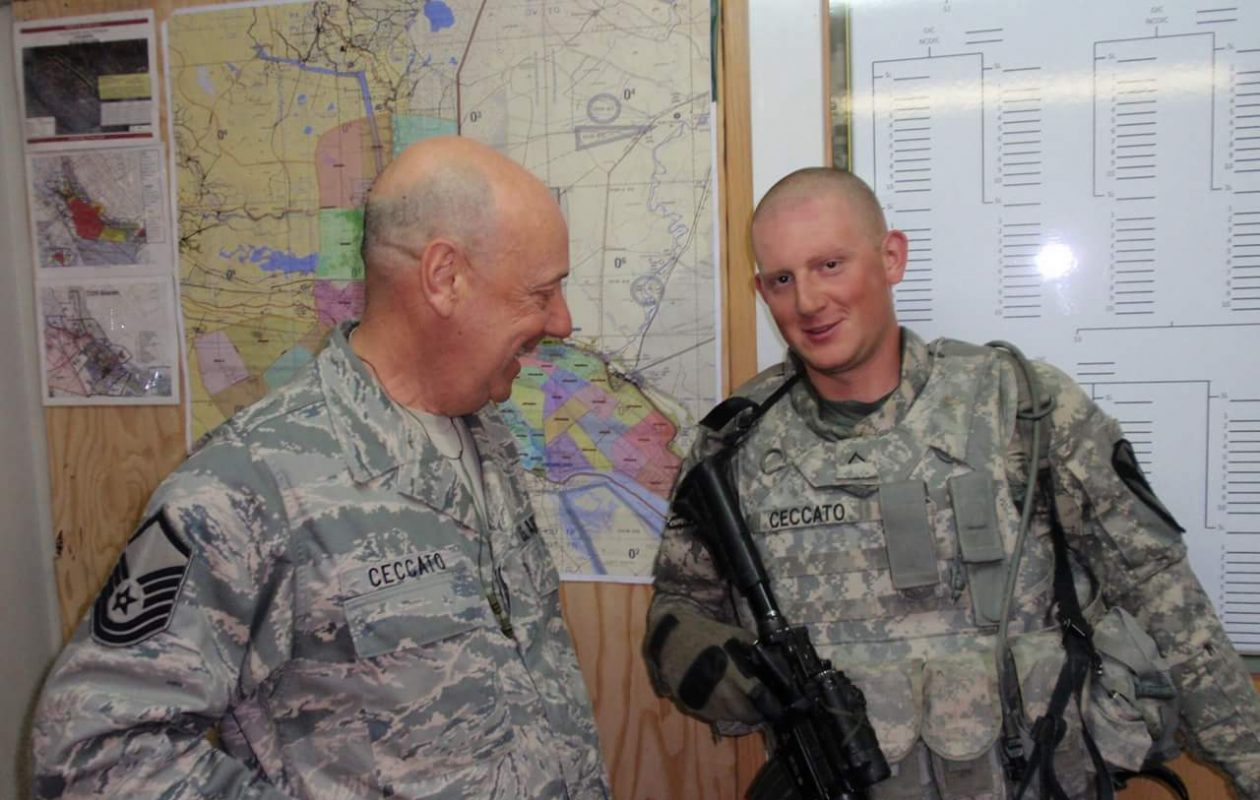 John Ceccato, as an Air Force soldier at 59, and his son David-John Ceccato, as a Army soldier at 19, found themselves serving in Iraq at the same time in the spring of 2011 and were able to get together  in Basra shortly before the elder Ceccato returned to the U.S.  (Provided photo)