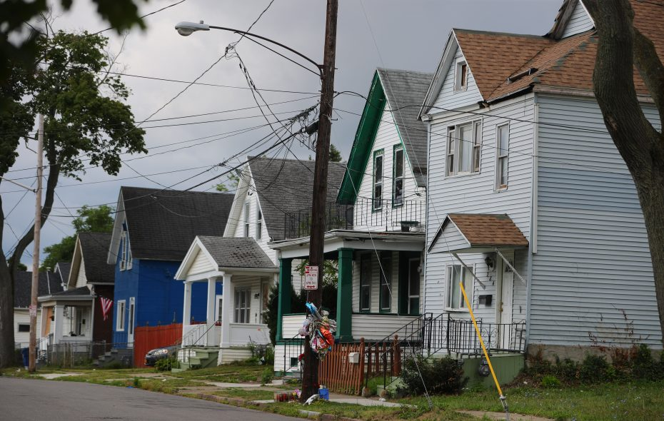 There were two separate shootings outside the same Grape Street house in July. A woman and her 17-month-old grandson were killed in the first shooting. (John Hickey/Buffalo News)