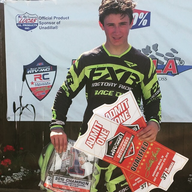 Wyatt Wawro poses with his two qualifying tickets for the Rocky Mountain ATV/MC AMA Amateur National Motocross Championship in Unadilla, N.Y. (Photo by Paul Wawro)