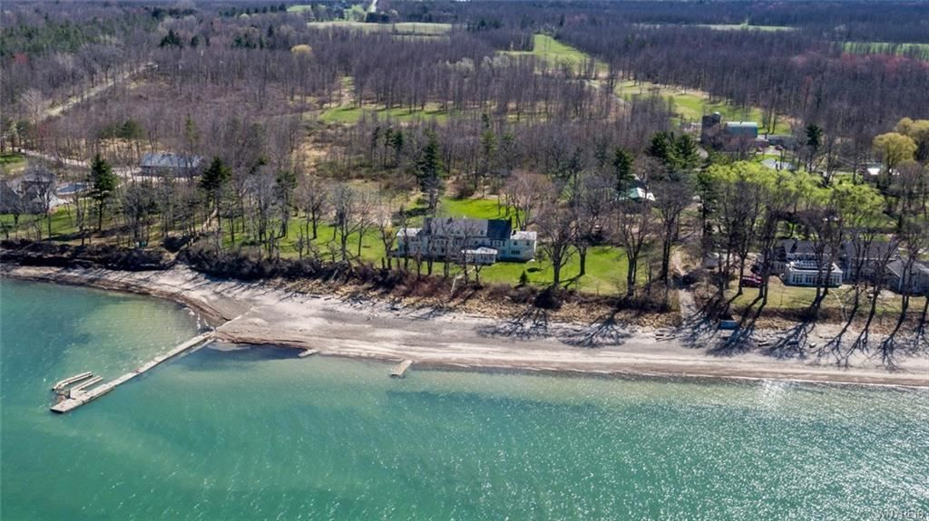 This photo captured by a drone shows the lakefront property on Larkin Road in Evans purchased by Stephen E. Barnes and his girlfriend, Ellen Sturm, both attorneys. (Photo courtesy Mark Kaminski/Howard Hanna)