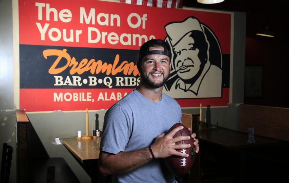 AJ McCarron is pictured at Dreamland Bar-B-Q Ribs on Saturday July 14, 2018. (Harry Scull Jr./ Buffalo News)