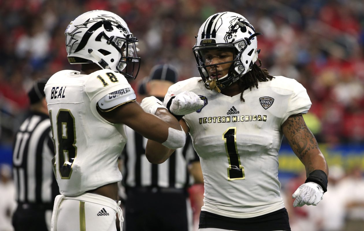 Western Michigan cornerback Sam Beal (18) is a prime candidate to be chosen in Wednesday's NFL supplemental draft. (Getty Images)