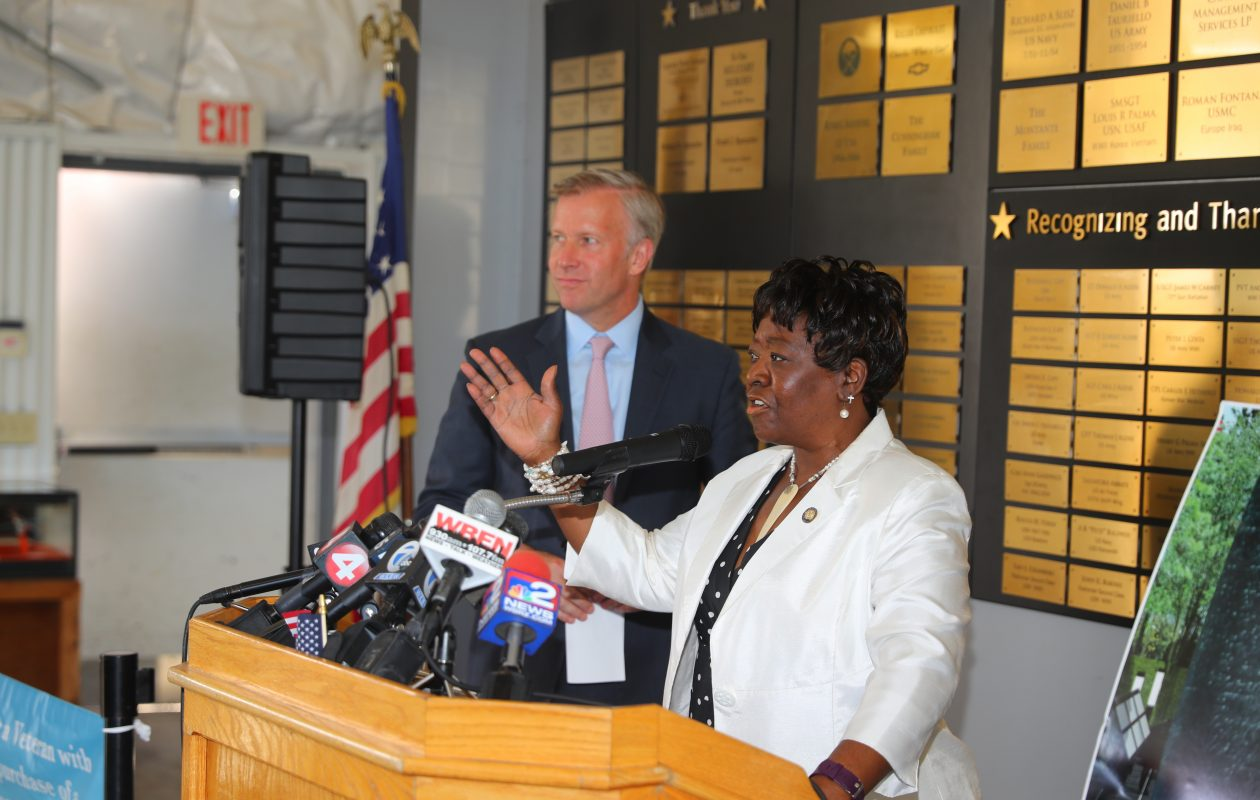 Assemblywoman Crystal Peoples-Stokes and state Sen. Chris Jacobs announce on Tuesday, July 3, 2018, that the state will provide  $800,000 for the proposed African-American veterans monument at the Buffalo and Erie County Naval and Military Park. (John Hickey/Buffalo News)