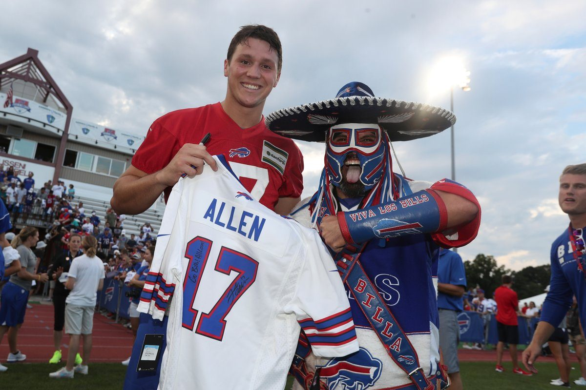 Josh Allen meets Bills super fan Pancho Billa for the first time on July 26, 2018, at St. John Fisher College in Pittsford, N.Y. (James P. McCoy/Buffalo News)