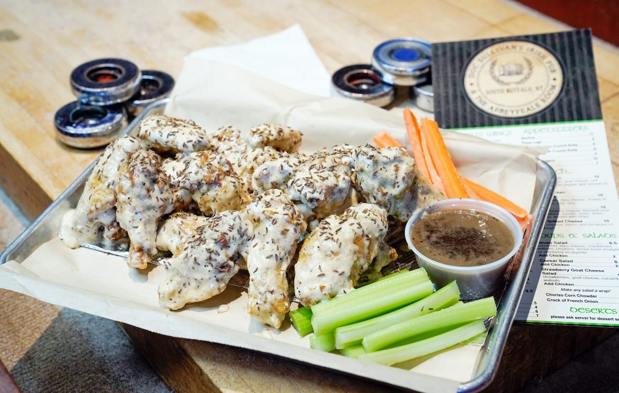 Beef on week wings at Doc Sullivan's are coated in a creamy horseradish base, then fried and tossed in caraway seeds. (Dave Jarosz)