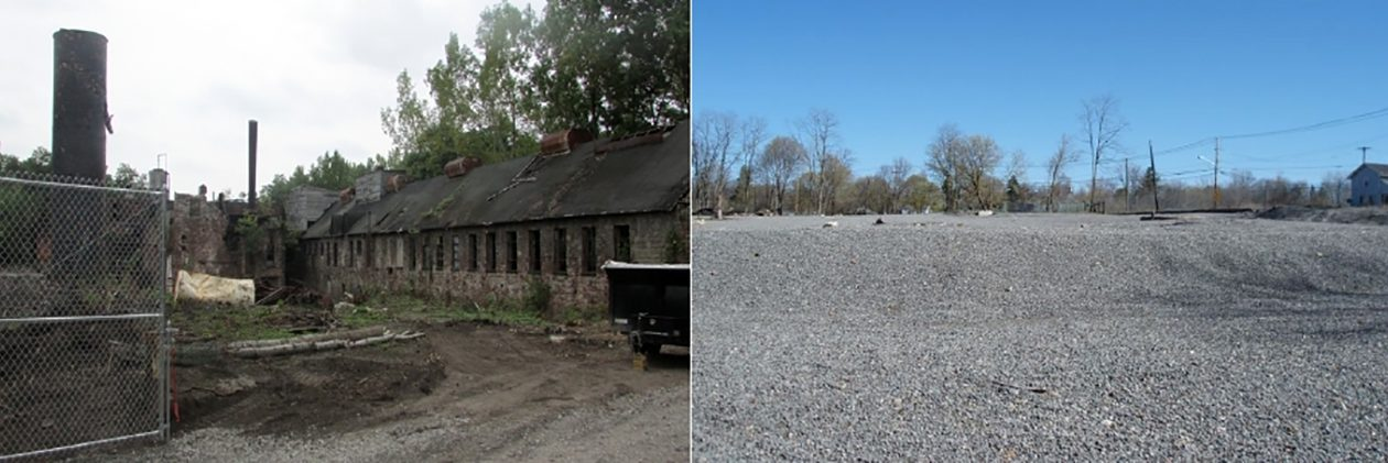 Before and after photos of the Flintkote site in Lockport. (Courtesy Environmental Protection Agency)