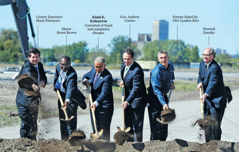 Officials throw  ceremonial shovels of dirt during the announcement of the RiverBend project in South Buffalo in 2014. Following several high-profile convictions, Gov. Andrew M. Cuomo no longer has a squeaky clean administration as he seeks to win a third term. (Mark Mulville/News file photo)