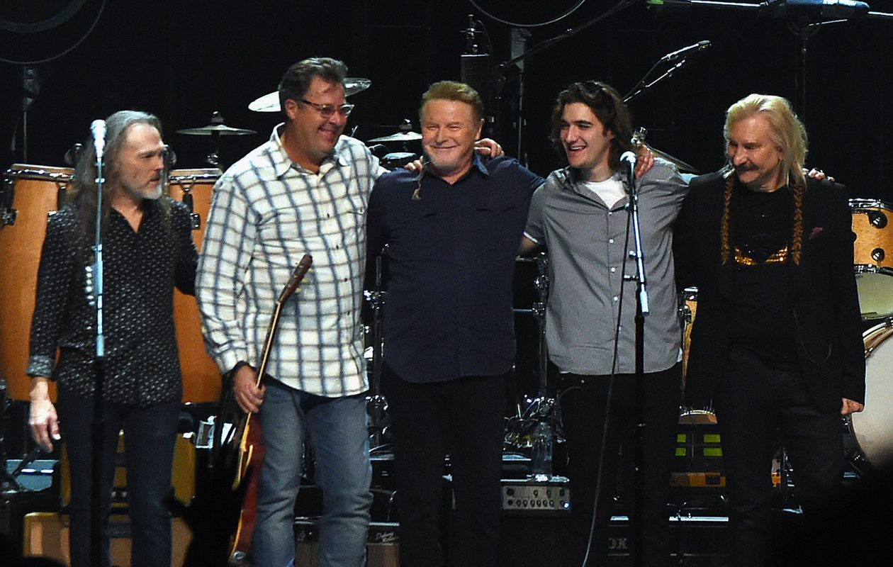 Eagles, Timothy B. Schmit, Vince Gill, Don Henley, Decon Frey and Joe Walsh perform during the Eagles in Concert at The Grand Ole Opry last October in Nashville, Tenn.  (Getty Images)