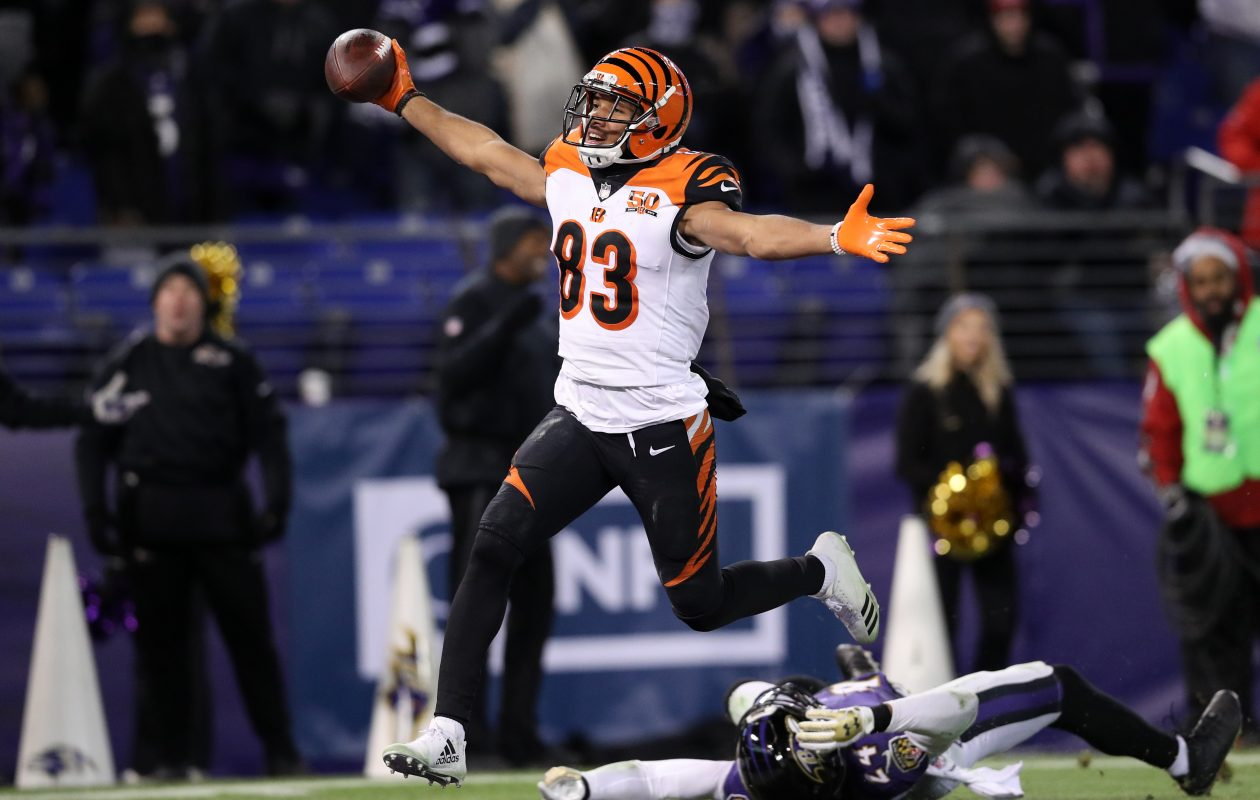 Bengals wide receiver Tyler Boyd scored the touchdown that sent the Buffalo Bills to the playoffs in 2017. (Getty Images)