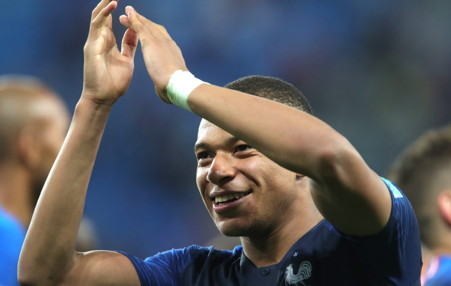 Kylian Mbappe of France celebrates following his sides victory in the 2018 FIFA World Cup Russia Semi Final match between Belgium and France at Saint Petersburg Stadium on July 10, 2018 in Saint Petersburg, Russia.  (Photo by Alexander Hassenstein/Getty Images)