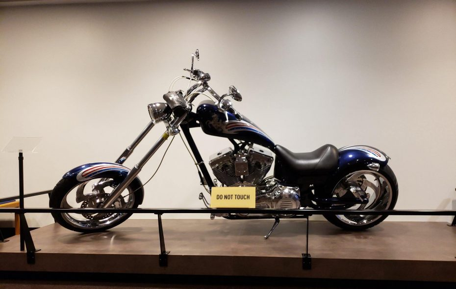 Jim Kelly donated this motorcycle from Knievel Custom Cycles to the Pro Football Hall of Fame. (Photo courtesy of the Pro Football Hall of Fame)