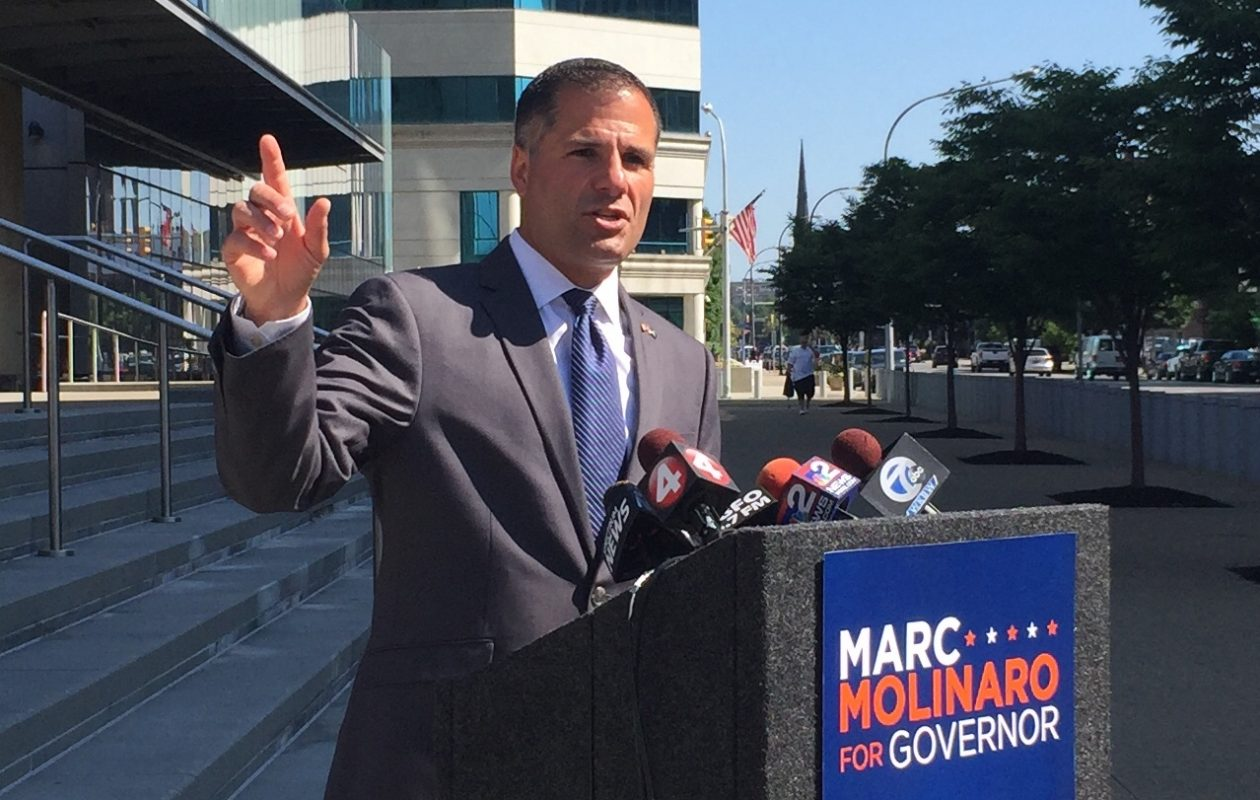Marc Molinaro announces his Albany Accountability Act in front of Buffalo's federal courthouse. (Keith McShea/Buffalo News)