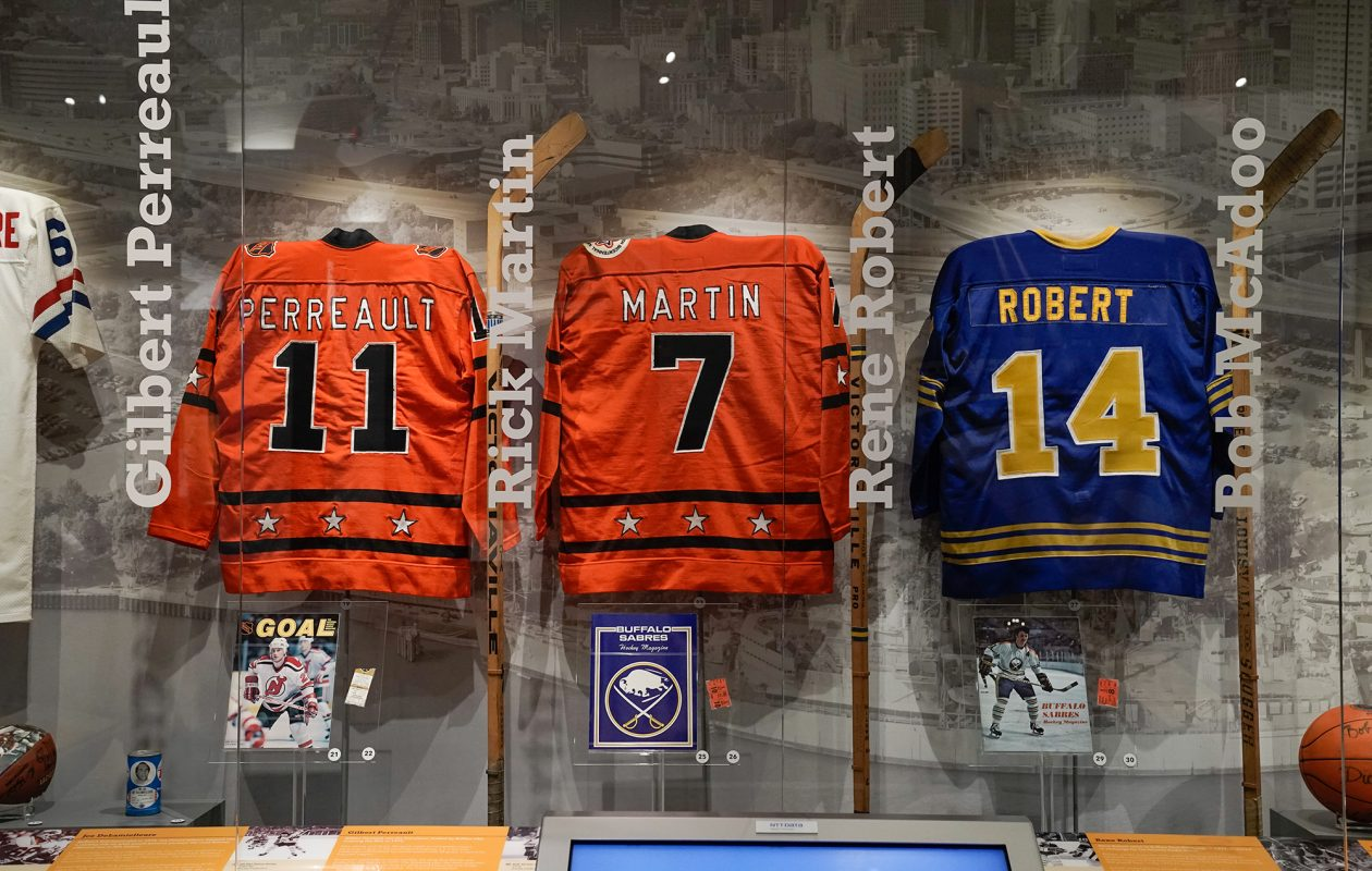 French Connection jerseys on display at the Buffalo History Museum's Icons exhibit. (Dave Jarosz)