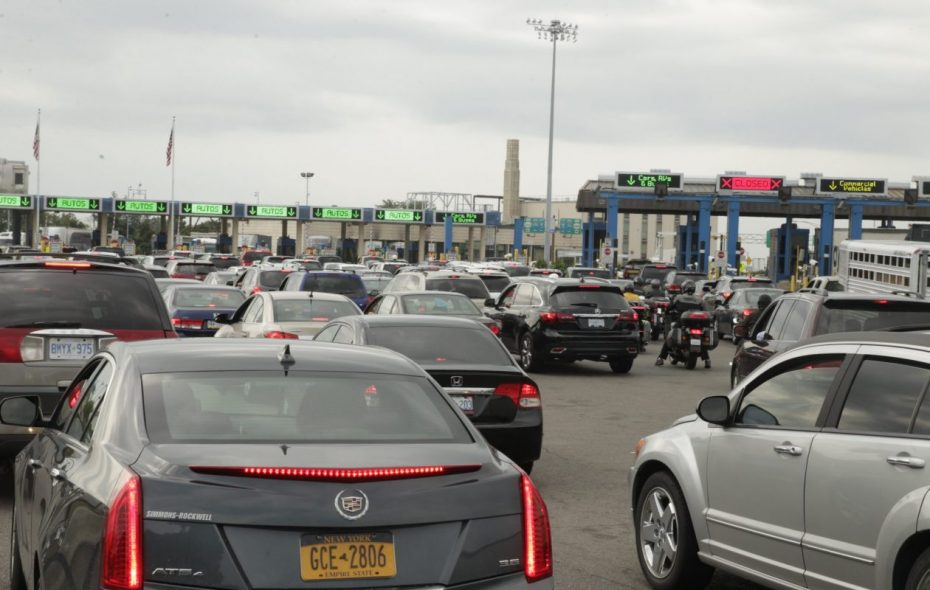 Local officials fear backups like this one at the Peace Bridge if too many customs officers get transferred from Buffalo to the southern border. (News file photo)
