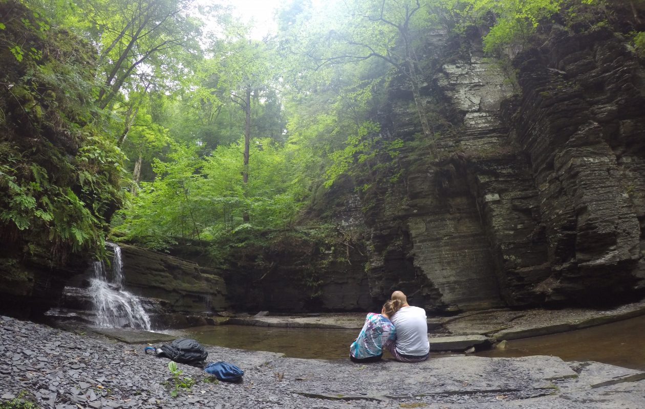 Michael Feldman and his fiancee, Lindsay Feraco, at Fillmore Glen State Park. (Family photo)
